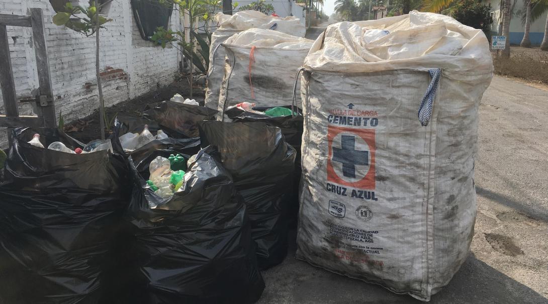 Plastflaskor som samlats in av Projects Abroad volontärer på sköldpaddsprojektet i Mexiko.